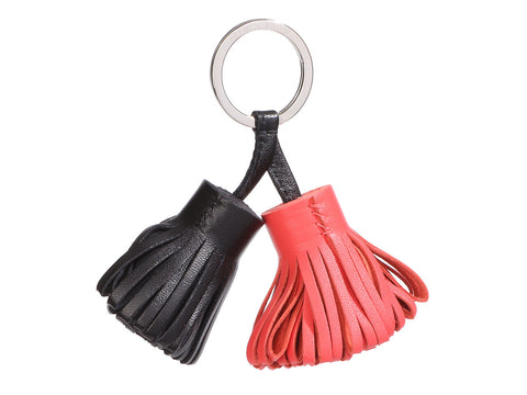 Hermès Black and Rose Jaipur Lambskin Carmen Duo Bag Charm