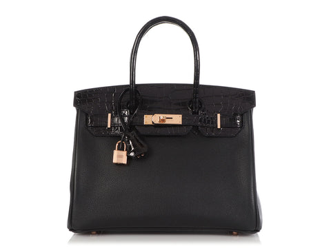 Hermès Black Novillo and Shiny Niloticus Crocodile Birkin Touch 30