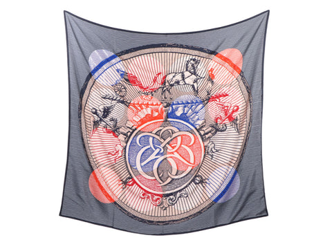 Hermès Exceptional Suite et Poursuite Cashmere Silk Embroidered Giant Scarf 140cm