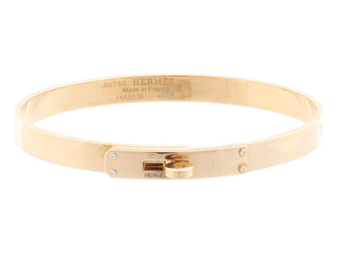 Hermès Small 18K Yellow Gold Diamond Kelly Bracelet SH