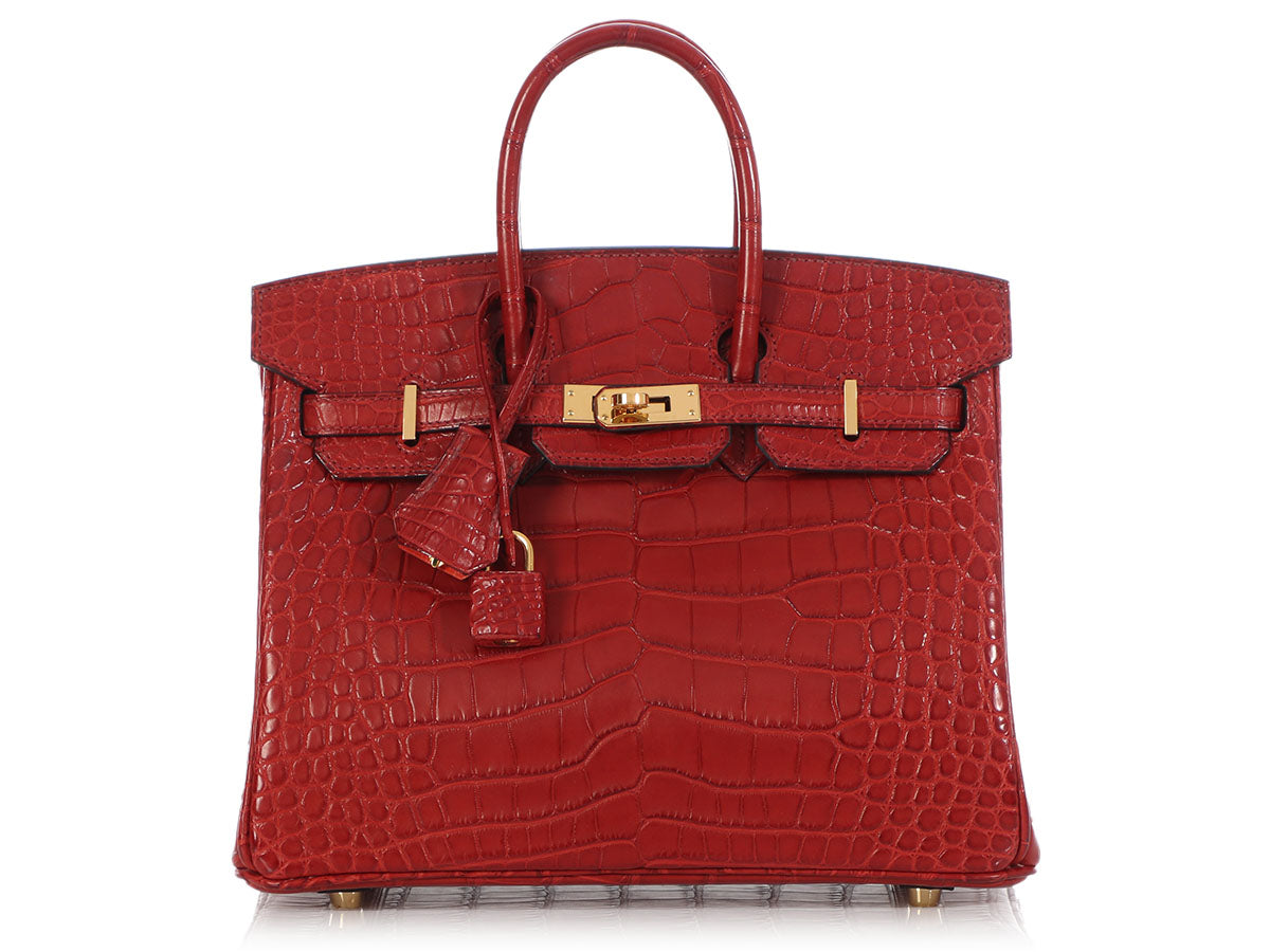 Hermès Rouge Matte Alligator and Orange Poppy Birkin Verso 25