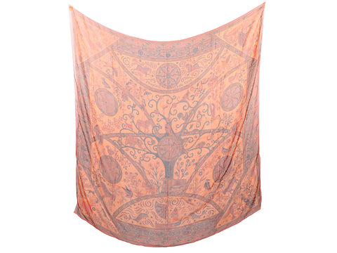 Hermès Orange Silk Mousseline Peuple du Vent Shawl 140cm