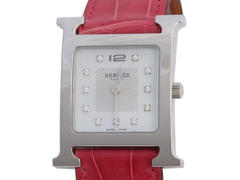Hermès Raspberry Alligator Diamond H Hour Watch 26mm