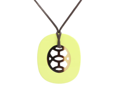 Hermès Lime Lacquered Horn and Natural Horn Lift Pendant Necklace