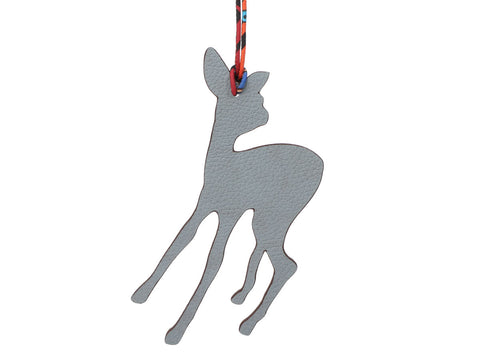 Hermès Gray Togo and Red Epsom Petit H Fawn Bag Charm