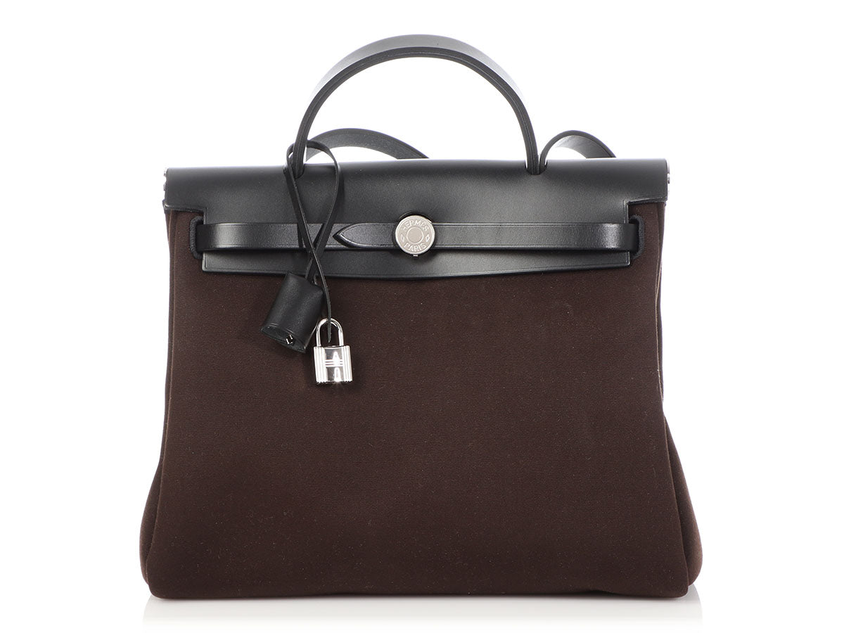 Hermès Brown Canvas and Black Vache Hunter Herbag Zip PM