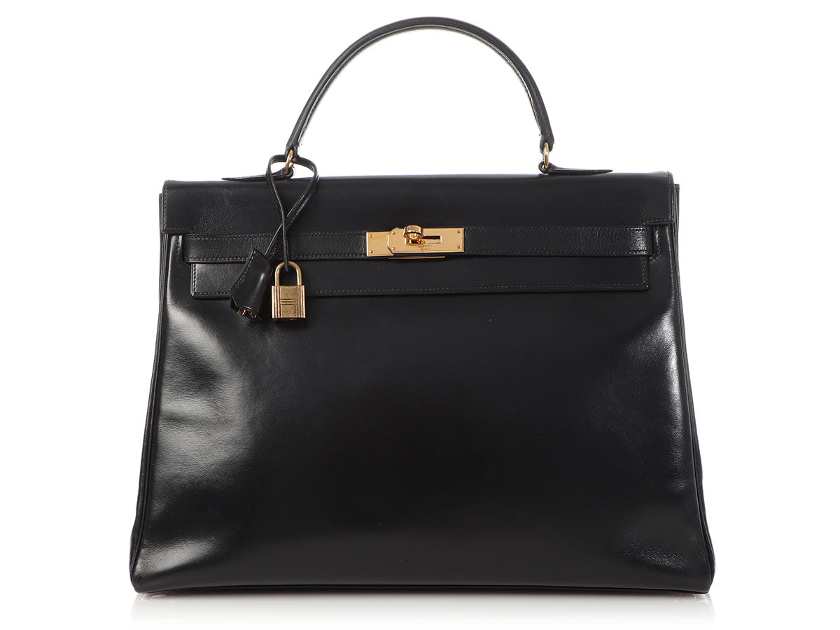 Hermès Vintage Black Box Calfskin Kelly 35