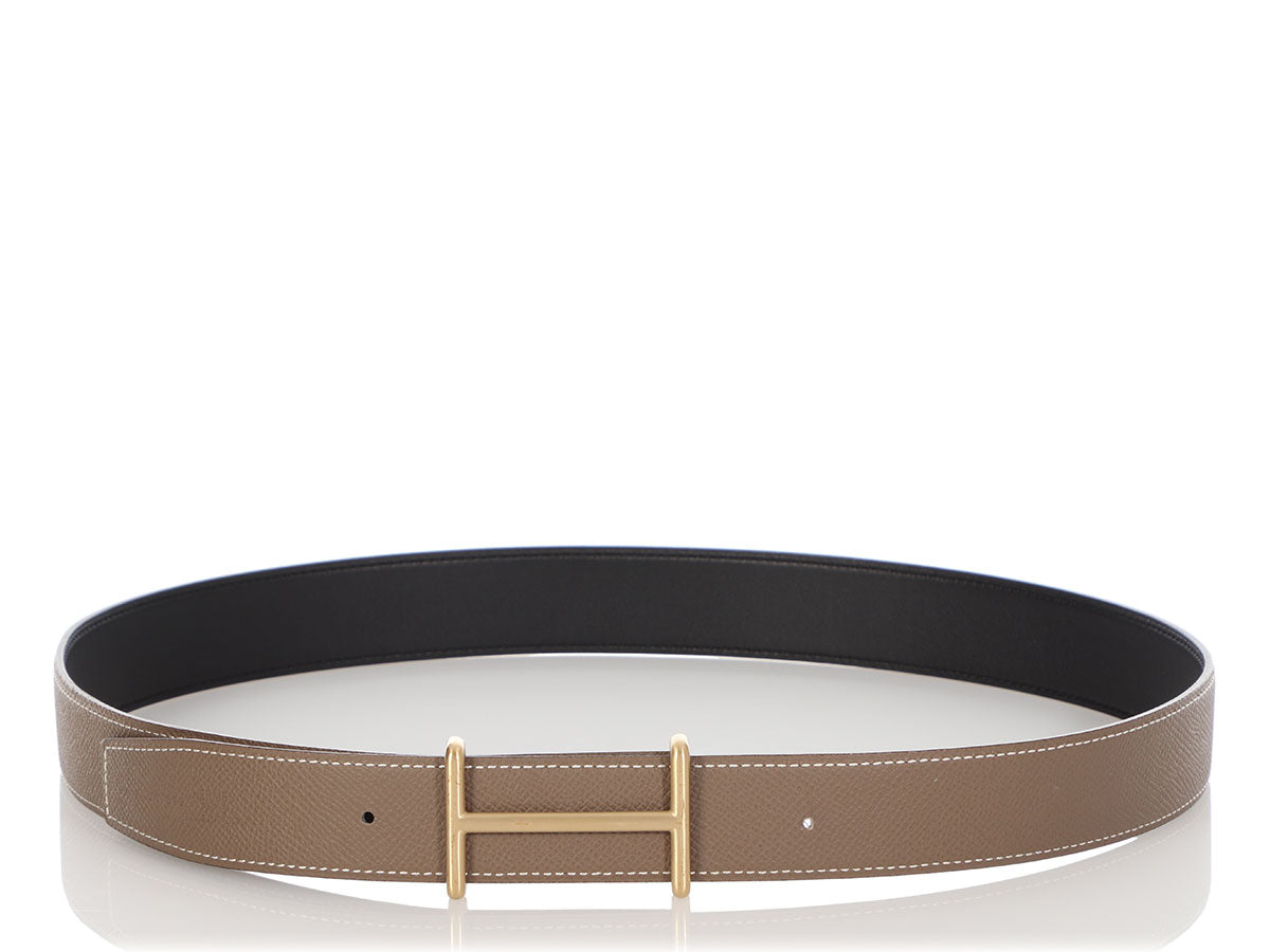 Hermès Etoupe and Black Idem Reversible Belt Kit