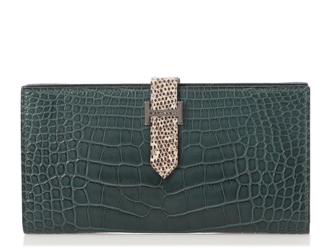 Hermès Vert Foncé Matte Alligator and Ombre Lizard Béarn Wallet