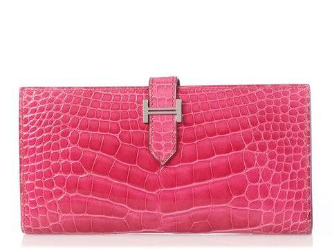 Hermès Fuchsia Shiny Alligator Béarn Wallet