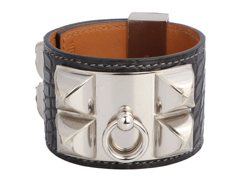 Hermès Graphite Matte Alligator Collier de Chien CDC Bracelet
