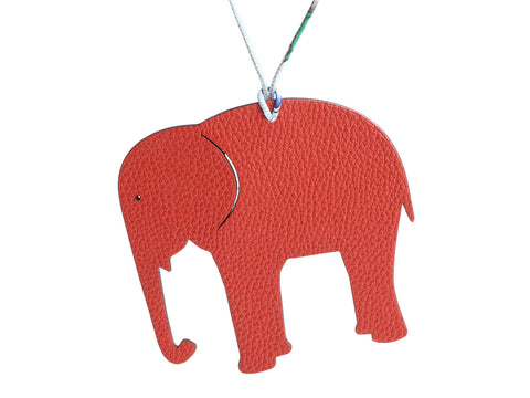 Hermès Red Togo and Blue Epsom Petit H Elephant Bag Charm