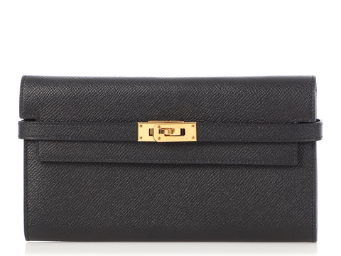 Hermès Long Black Epsom Kelly Wallet