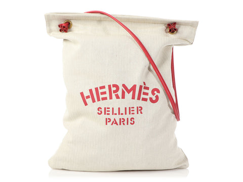 Hermès Canvas and Red Epsom Sellier Aline Bag