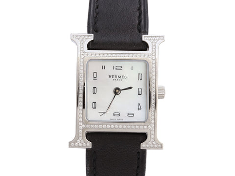 Hermès Stainless Steel Diamond H Hour Ladies Watch 21mm