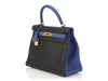 Hermès Special Order Black and Electric Blue Clémence Kelly 28