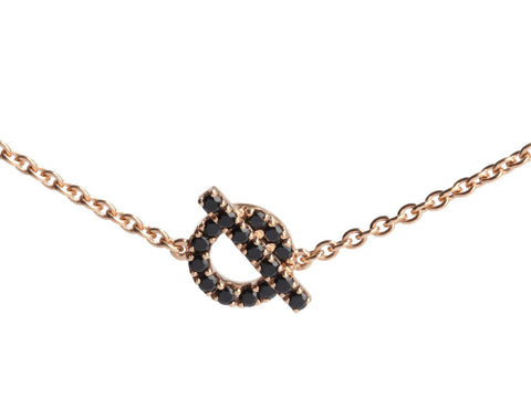 Hermès 18K Rose Gold Black Spinel Finesse Bracelet SH