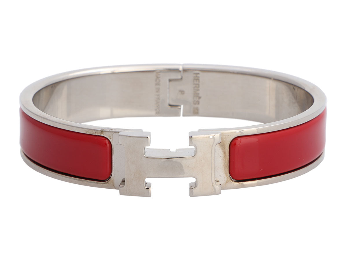 Hermès Narrow Red Clic-Clac Bracelet PM