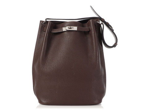 Hermès Brown Togo So Kelly Hobo 26