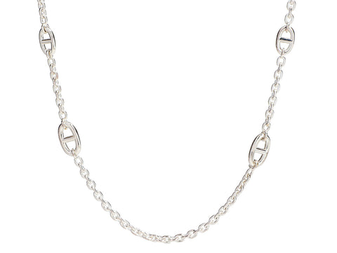 Hermès Long Sterling Silver Farandole Necklace 160