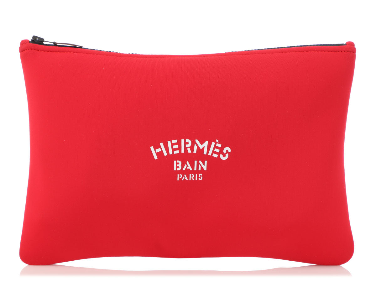 Hermès Red Neoprene Neobain Pouch GM