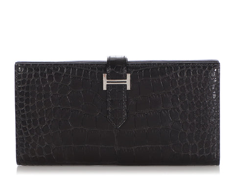 Hermès Black Matte Alligator Béarn Wallet
