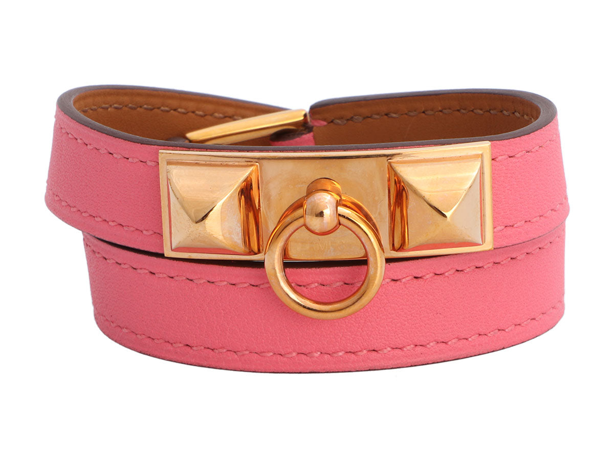 Hermès Pink Swift Rivale Double Tour Bracelet
