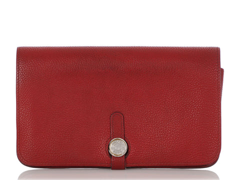 Hermès Red Togo Dogon Duo Wallet