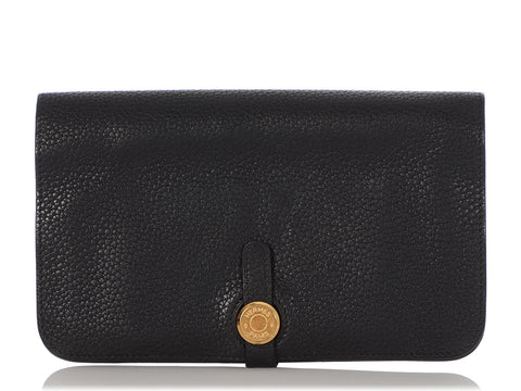 Hermès Black Togo Dogon Duo Wallet