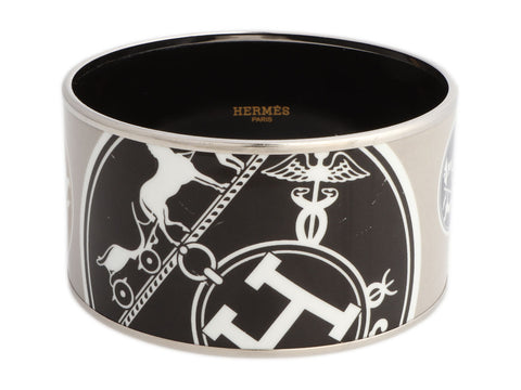 Hermès Extra Wide Logos Enamel Bangle 70