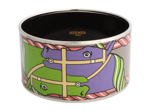 Hermès Extra Wide Quadrige Enamel Bangle Bracelet 70