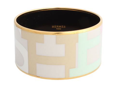 Hermès Extra Wide Capitales Enamel Bangle 70