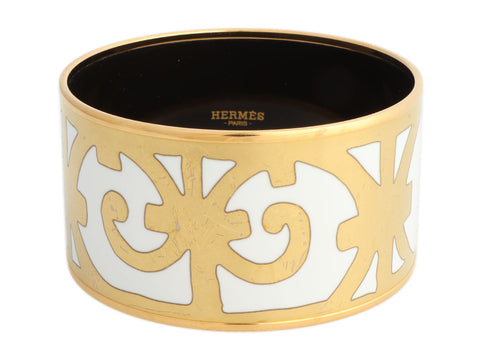 Hermès Extra Wide Balcons du Guadalquivir Enamel Bangle 70