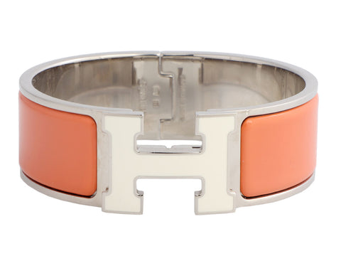 Hermès Peach and White H Clic-Clac Bracelet PM