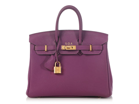 Hermès Special Order Anemone and Rose Pourpre Togo Birkin 25