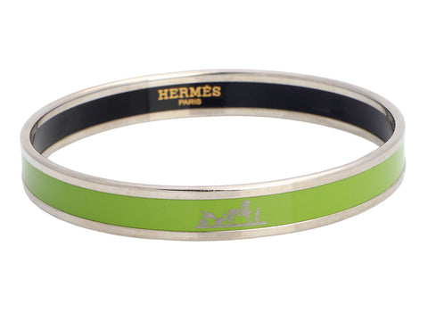 Hermès Extra Narrow Calèche Enamel Bangle Bracelet 65