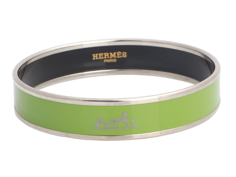 Hermès Narrow Calèche Enamel Bangle Bracelet 65