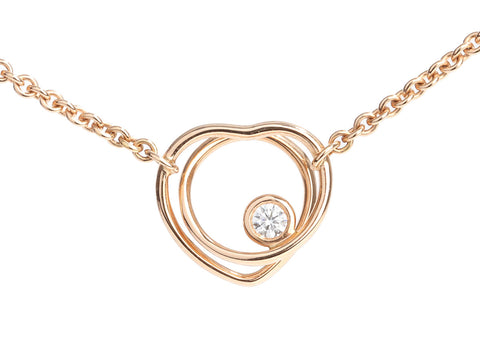 Hermès 18K Rose Gold Diamond Vertige Coeur Pendant Necklace