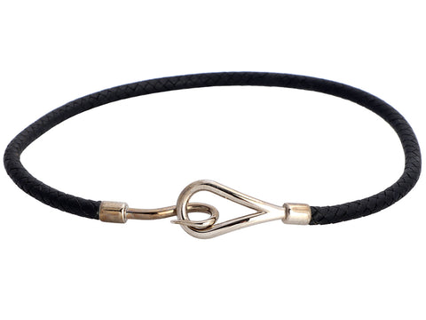 Hermès Black Woven Leather Hook Choker/Bracelet