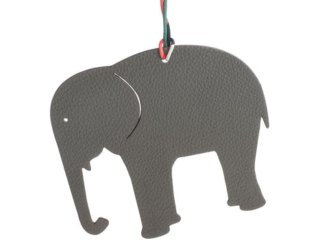 Hermès Large Green Epsom and Gray Togo Petit H Elephant Bag Charm
