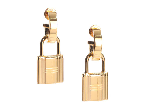 Hermès Gold-Tone Orange Swift O'Kelly Pierced Drop Earrings