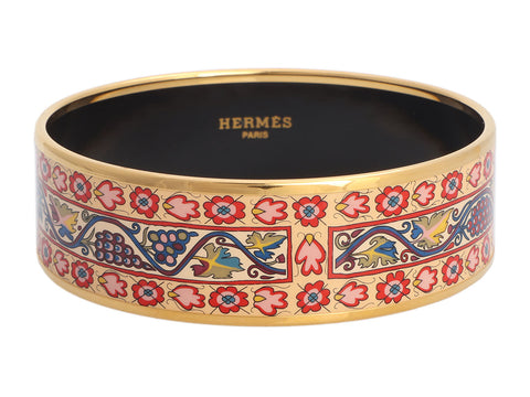 Hermès Wide Grapevine Enamel Bangle Bracelet 70