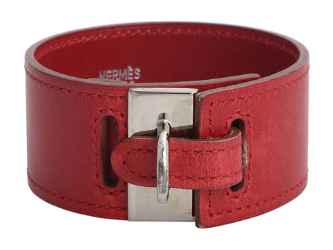 Hermès Wide Burgundy Leather Bracelet