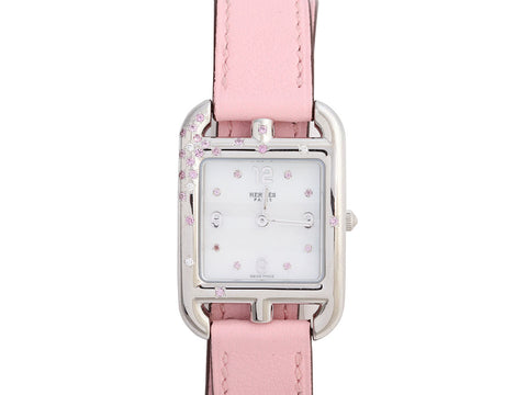 Hermès Stainless Steel Pink Sapphire and Diamond Cape Cod Double Tour Watch 23mm
