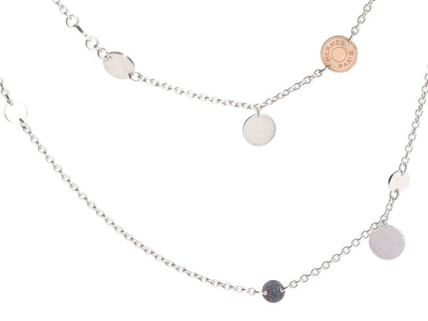 Hermès Long Sterling Silver and 18K Rose Gold Confettis Necklace