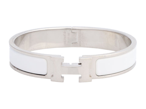 Hermès Narrow White Clic-Clac Bracelet GM