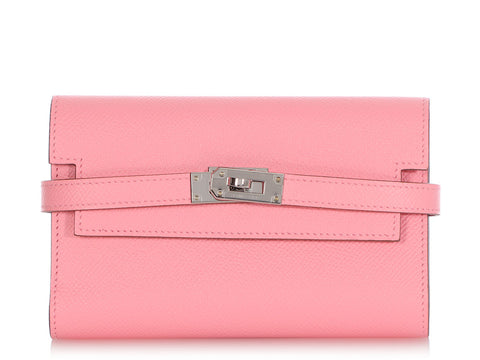 Hermès Medium Rose Confetti Epsom Dépliant Kelly Wallet