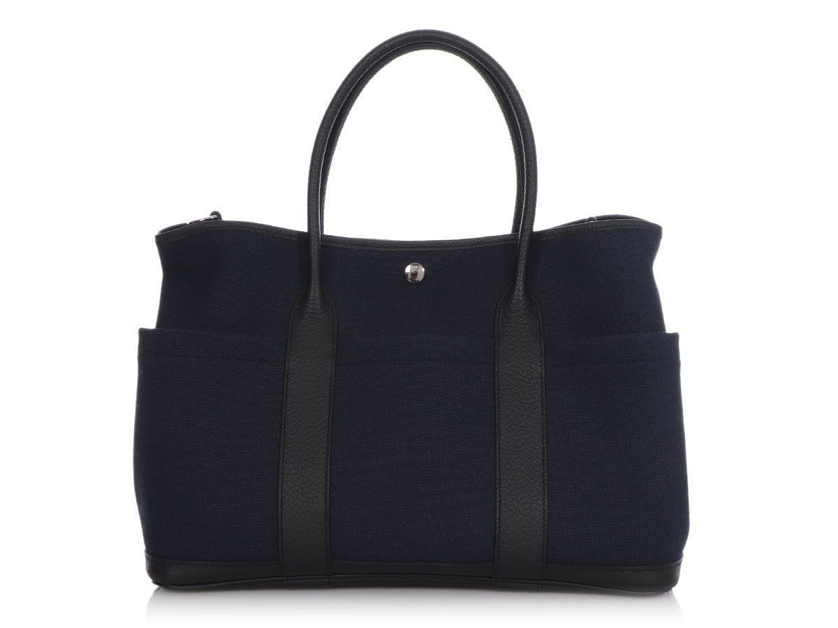 Hermès Navy Canvas Garden Party with Pockets