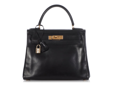 Hermès Vintage Black Box Calfskin Kelly 28