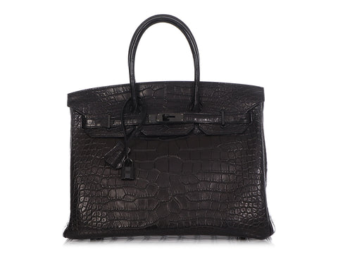 Hermès So Black Matte Alligator Birkin 35